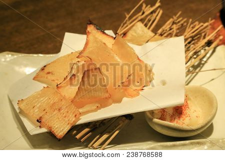 Eihire Yaki (grilled Skate Fin) On A Plate With Mayonnaise