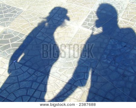 Shadow (Silhouette) Of A Couple In Love