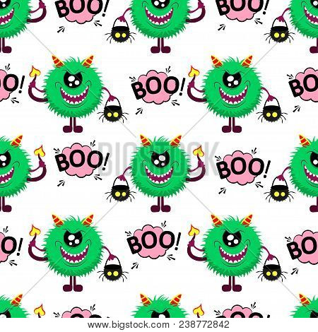 Abstract Seamless Halloween Pattern For Girls Or Boys. Creative Vector Pattern With Fluffy Monster,