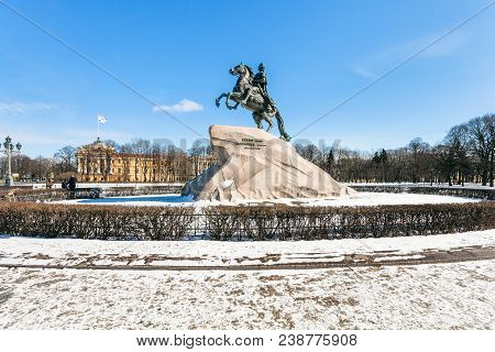 Bronze Horseman Monument Of Peter The Great In The Senate Square In Saint Petersburg. The Monument W