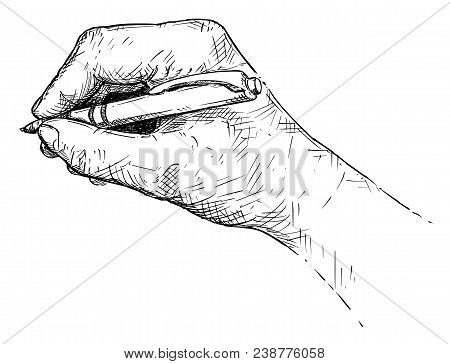 Vector Artistic Pen And Ink Drawing Illustration Of Hand Writing With Ballpoint Pen.