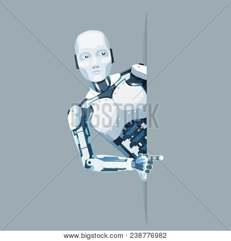 Pointing finger hand android robot look out corner online help technology science fiction sale future 3d design vector illustration poster