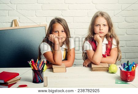 Bored School Kids At Lesson In September 1. Back To School And Home Schooling. Friendship Of Small S