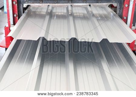 Metal Sheet Roof Rolled From Rolling Machine ; Close Up