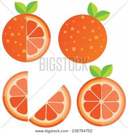 Oranges Orange Slice, Half Cut Orange And Front View Of Cut Ripe Orange. Set Of Vector Illustration.