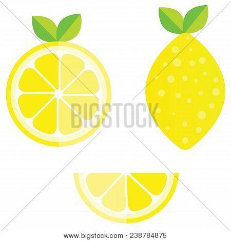 Set Of Whole, Cut In Half, Sliced On Pieces Fresh Lemons, Leaves And Flowers, Twisted Lemon Peel Han
