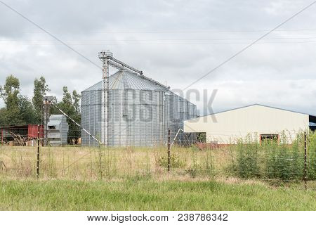 Bergville, South Africa - March 18, 2018: Grain Silos In Bergville In The Kwazulu-natal Province