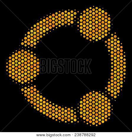 Halftone Hexagon Cooperation Icon. Bright Golden Pictogram With Honey Comb Geometric Structure On A