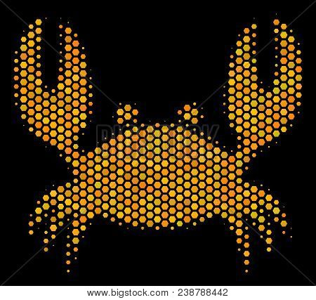 Halftone Hexagon Crab Icon. Bright Gold Pictogram With Honeycomb Geometric Structure On A Black Back