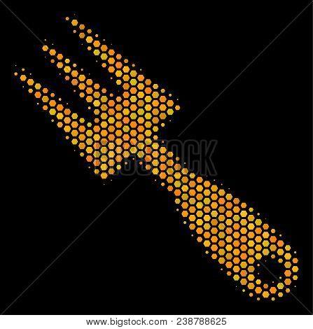 Halftone Hexagonal Cultivator Rake Icon. Bright Yellow Pictogram With Honeycomb Geometric Pattern On