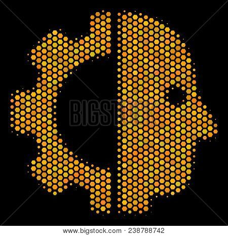 Halftone Hexagon Cyborg Head Icon. Bright Golden Pictogram With Honey Comb Geometric Structure On A