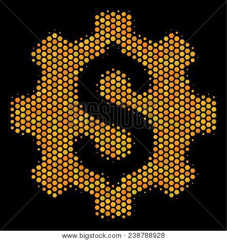 Halftone Hexagon Development Cost Icon. Bright Gold Pictogram With Honeycomb Geometric Structure On