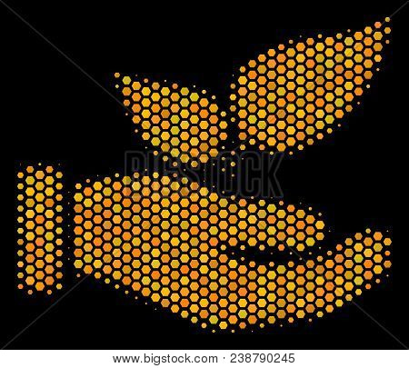 Halftone Hexagonal Eco Startup Hand Icon. Bright Gold Pictogram With Honey Comb Geometric Structure