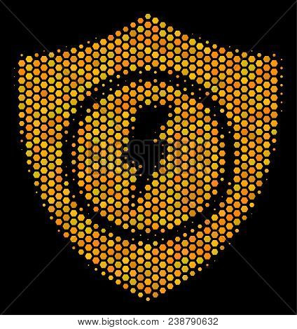 Halftone Hexagon Electric Guard Icon. Bright Yellow Pictogram With Honey Comb Geometric Pattern On A