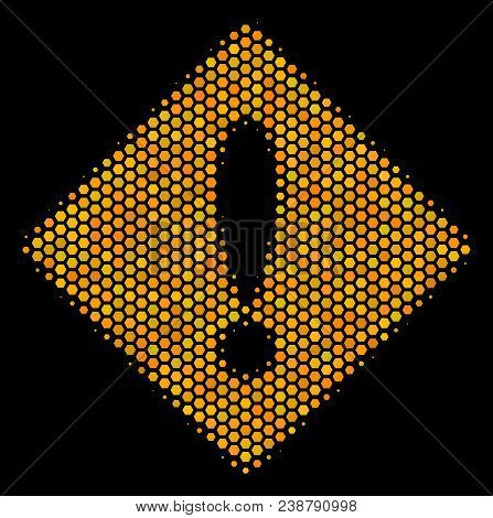 Halftone Hexagonal Error Icon. Bright Yellow Pictogram With Honeycomb Geometric Structure On A Black