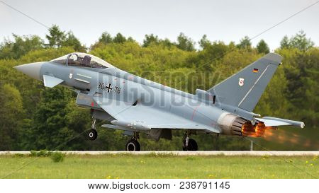 Berlin - Apr 27, 2018: German Air Force Eurofighter Ef-2000 Typhoon Fighter Jet Taking Off During Th