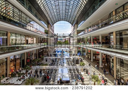 Berlin, Germany - April 28, 2018: Interior View Of The New Mall Of Berlin Shopping Centre At Leipzig