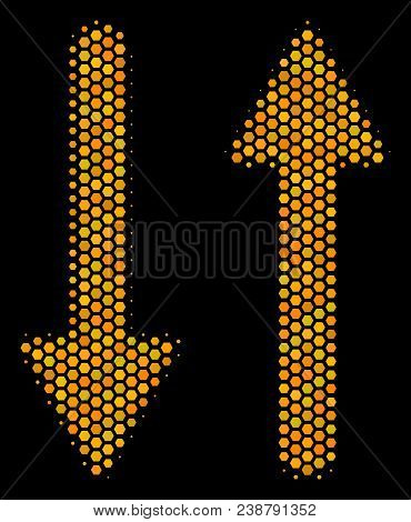 Halftone Hexagon Exchange Arrows Icon. Bright Gold Pictogram With Honeycomb Geometric Structure On A