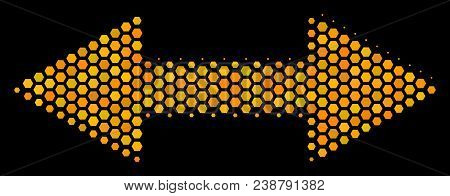 Halftone Hexagon Exchange Arrows Icon. Bright Yellow Pictogram With Honeycomb Geometric Structure On