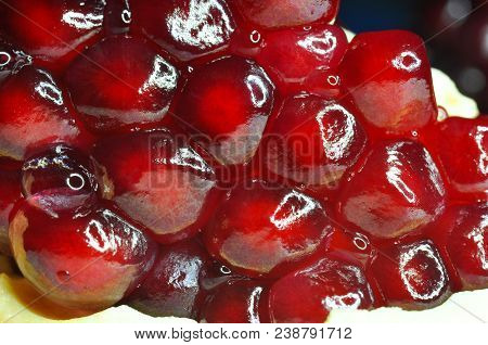 Macro Of Ripe Seeds Of Pomegranate. Food Background.