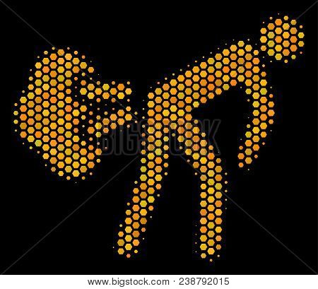 Halftone Hexagon Fart Gases Icon. Bright Yellow Pictogram With Honey Comb Geometric Structure On A B
