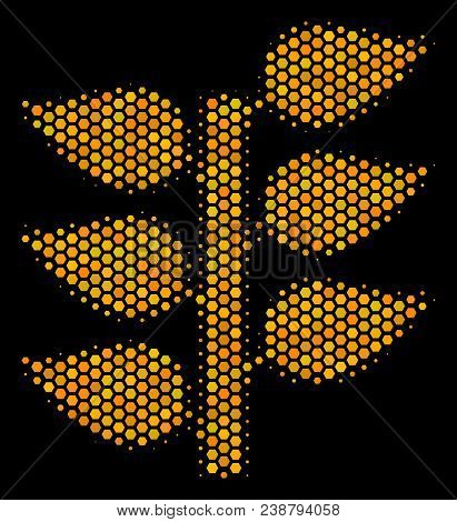Halftone Hexagon Flora Plant Icon. Bright Golden Pictogram With Honey Comb Geometric Pattern On A Bl