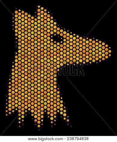 Halftone Hexagon Fox Head Icon. Bright Yellow Pictogram With Honey Comb Geometric Pattern On A Black