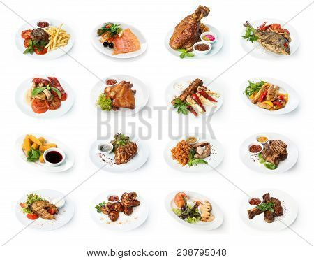 Set Of Various Restaurant Meals Isolated On White Background. Collage Of Different Main Courses, Mea