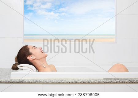 Just Relax. Content Beautiful Young Woman Relaxing While Taking A Bath.
