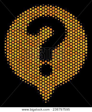Halftone Hexagon Help Balloon Icon. Bright Gold Pictogram With Honey Comb Geometric Pattern On A Bla