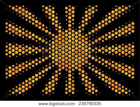 Halftone Hexagonal Japanese Rising Sun Icon. Bright Yellow Pictogram With Honey Comb Geometric Patte