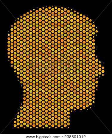 Halftone Hexagon Man Head Profile Icon. Bright Golden Pictogram With Honeycomb Geometric Pattern On