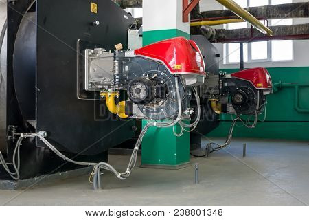 Heating Boilers For Heating Water And Gas Burners At The Heating Plant
