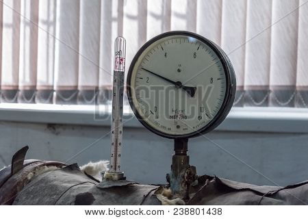Manometer Of Pumping Equipment Of Water Supply, Heating Systems