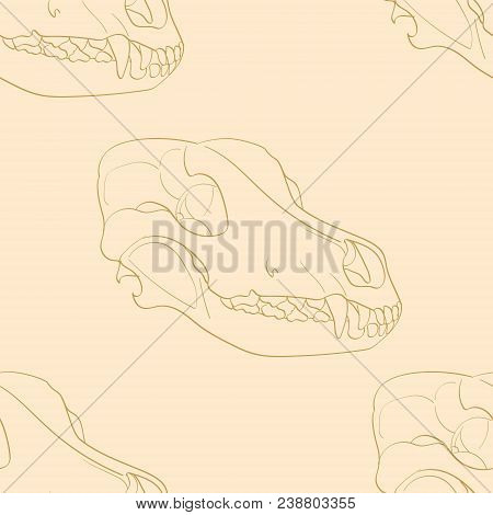 Object On White Background Skull Dog Sideways. Seamless Retro Background, Vintage, Orange, Yellow. V