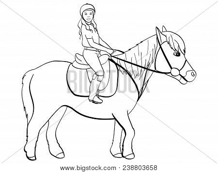 Equestrian Sport For Children. Girl Riding A Pony. Horse. Equestrian Sport. Riding Horse. Horse Ride