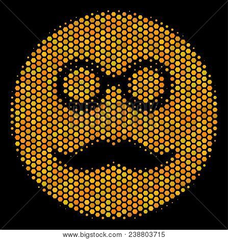 Halftone Hexagon Pension Smiley Icon. Bright Golden Pictogram With Honey Comb Geometric Pattern On A
