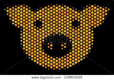 Halftone Hexagon Pig Head Icon. Bright Gold Pictogram With Honeycomb Geometric Structure On A Black