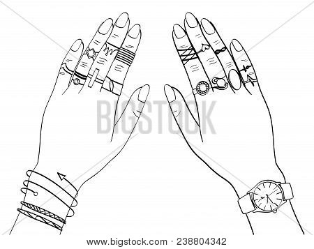 Isolated Object On White Background Vector Illustration. Hands Of Women In Fashion Jewelry, Rings, J