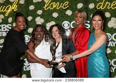 LOS ANGELES - APR 29:  Aisha Tyler, Sheryl Underwood, Sara Gilbert, Eve, Julie Chen, The Talk at the CBS Daytime Emmy After Party at the Pasadena Convention Center on April 29, 2018 in Pasadena, CA