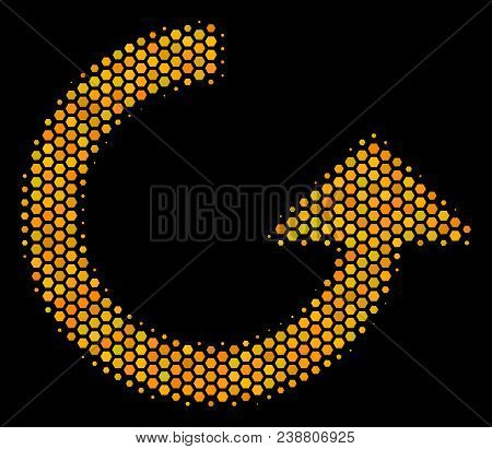 Halftone Hexagonal Rotate Icon. Bright Gold Pictogram With Honey Comb Geometric Structure On A Black