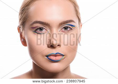 Headshot Of Beautiful Woman With Colored Makeup With Lines Isolated On White