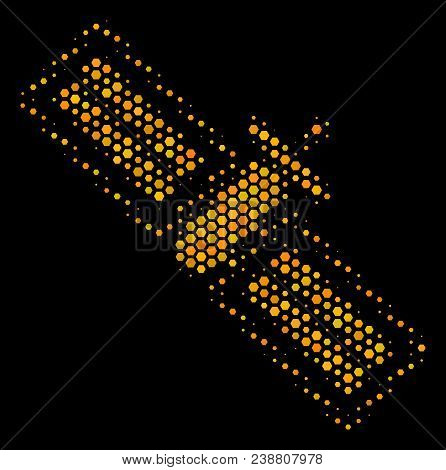 Halftone Hexagon Satellite Icon. Bright Yellow Pictogram With Honey Comb Geometric Pattern On A Blac