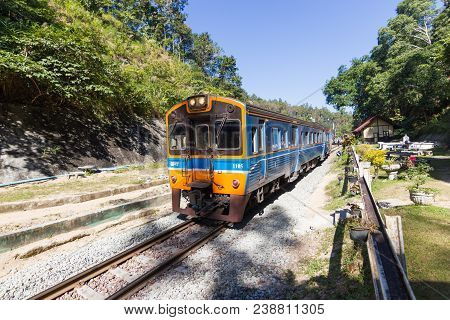 Khun Tan Railway Station, Lamphun Of Thailand: December 23, 2017: - The Train Leaving The Railway St