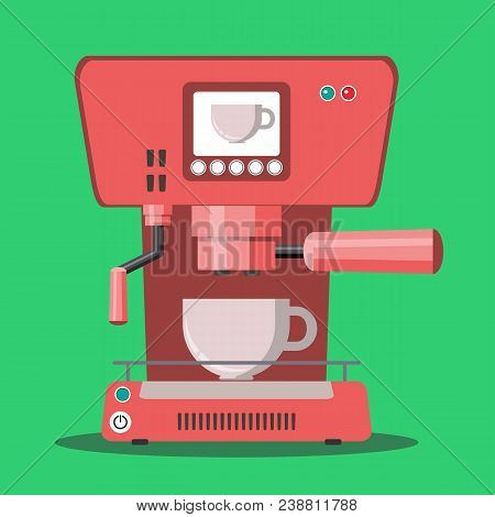 Office Coffee Machine Vector Illustration In Flat Style. Coffee Maker With Plastic Cup. Home Coffee