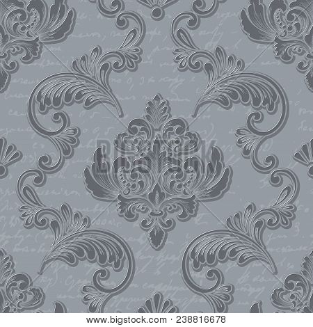 Vector Damask Seamless Pattern Element With Handwriting. Classical Luxury Old Fashioned Damask Ornam
