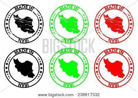 Made In Iran - Rubber Stamp - Vector, Iran Map Pattern - Black, Green And Red