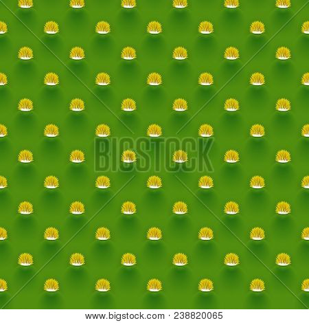 Opuntia Cactus Stem Seamless Pattern, Prickly Pear Alike Plant Texture With Spines And Areola, Reali