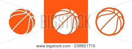 Basketball Logo Set Of Vector Icon For Streetball Championship Tournament, School Or College Team Le