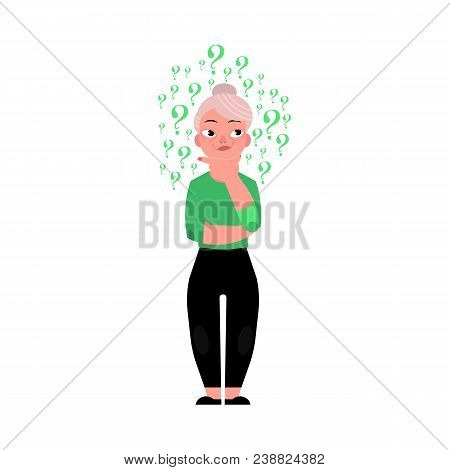 Cartoon Old Caucasian Elderly Grey-haired Woman In Casual Green Clothing Standing In Thoughtful Pose